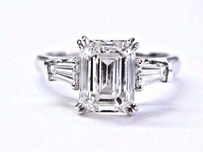 Harry Winston Emerald Baguette Cut Diamond 3 Stone Platinum Ring 2 89ct E Vvs2 Ebay