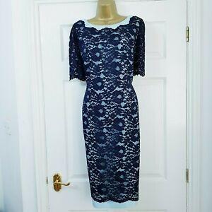 JACQUES-VERT-Navy-amp-Misty-Blue-Lace-Dress-Mother-of-The-Bride-Wedding-Size-UK-14