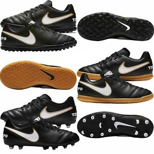 Nike-Kids-Boys-Football-Boots-tiempo-Rio-Astro-Turf-FG-Sports-Trainers-Black-New