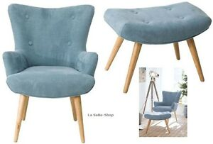 Sitzmobel Odia Sessel Hocker 2tlg Set Blau Neu Top Ebay