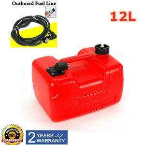 Portable 3.2Gallon Outboard Boat Marine Fuel Gas Tank w/male Connector+Fuel Line