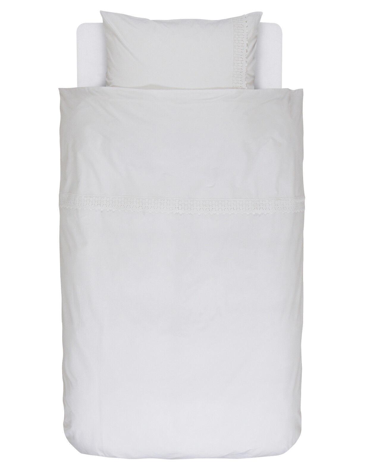 Essenza Bettwäsche Ems Weiß 135 155 200 Premium Baumwolle Baumwolle Baumwolle Perkal Uni mit Spitze 9d15fb