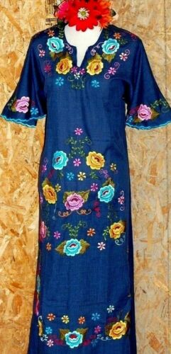 Mexican Colorful Maxi Dress Floral Embroidery Angel Bell Kaftan wedding vtg NWT