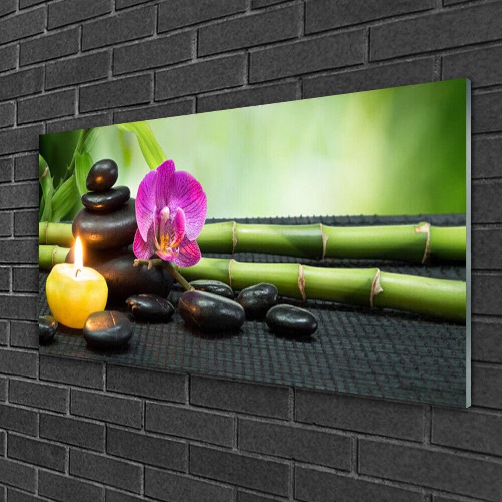 Image sur verre Tableau Impression 100x50 Kunst Pierres Fleurs Bambou Bougie