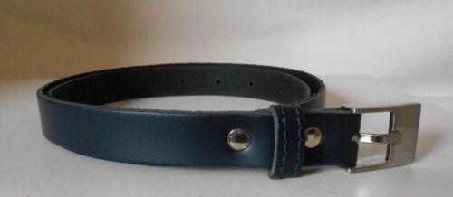 L y XL * Azul Marino * 20mm ancho Mujer Cinturón De Cuero Genuino M AL1 disponible en S