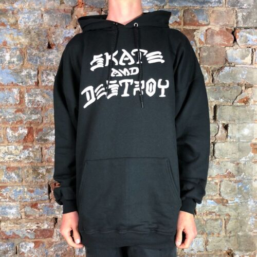 Black in size S,L,XL Thrasher Skate and Destroy Pullover Hooded Sweatshirt