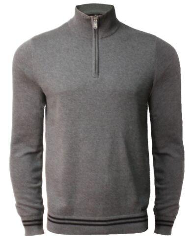 Mens Threadbare Funnel Neck Jumper Knit Sweater Top Pullover 1//4 zip CHESTNUT