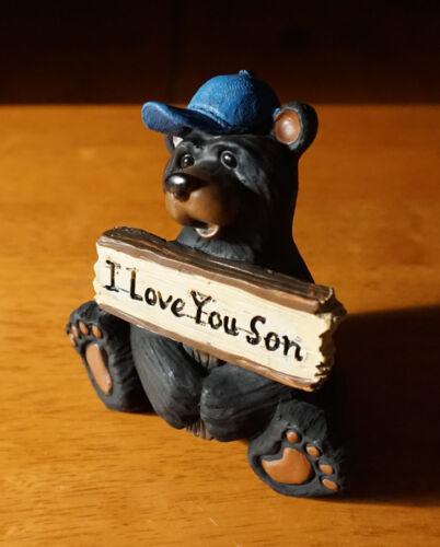 I LOVE YOU SON Black Bear Figurine Blue Baseball Cap Lodge Cabin Home Decor NEW