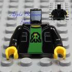 NEW Lego Minifig BLACK JACKET TORSO Boy Girl Pocket Sweat Shirt Hoodie Green Top