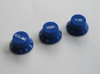 Stratocaster Tone Knob : blue w white st strat guitar knobs volume knob tone knobs fits stratocaster ebay ~ Vivirlamusica.com Haus und Dekorationen