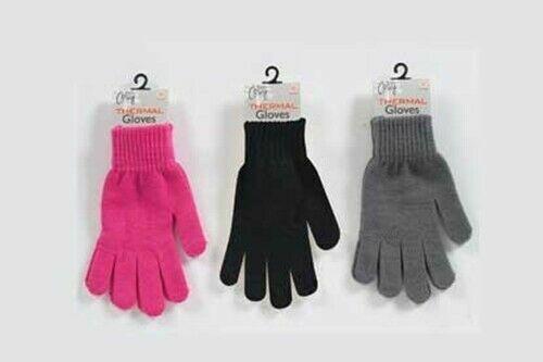 Ladies Winter Stretch Thermal Gloves Warm Soft Pink Grey