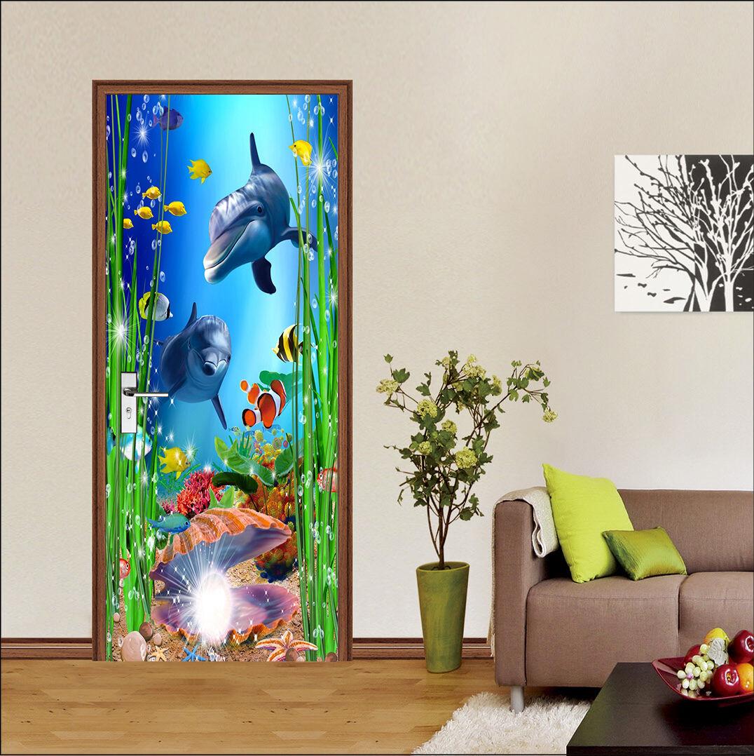 3D Delphine Tür Wandmalerei Wandaufkleber Aufkleber Aufkleber Aufkleber AJ WALLPAPER DE Kyra | Hohe Qualität und geringer Aufwand  | Umweltfreundlich  | Qualität Produkte  98beeb