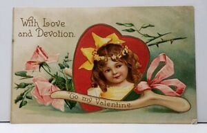 Valentine-Love-and-Devotion-Sweet-Girl-Heart-With-Wishbone-Emboss-Postcard-F20