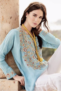 JOHNNY-WAS-Blue-BIYA-Embroidered-SALAS-LINEN-BLOUSE-Tunic-Woven-Top-XS-225