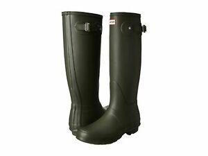 Hunter Original Tall Ladies Dark Olive Rain Boots 8