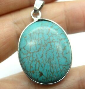 36-25MM-Natural-picture-Turquoise-pendant-Gemstone-Making-jewelry-necklace-C287