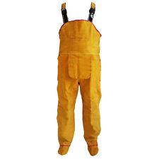 Heat Insulation Protection Safety Leather Welding Work Pants Rompers Bib Overall