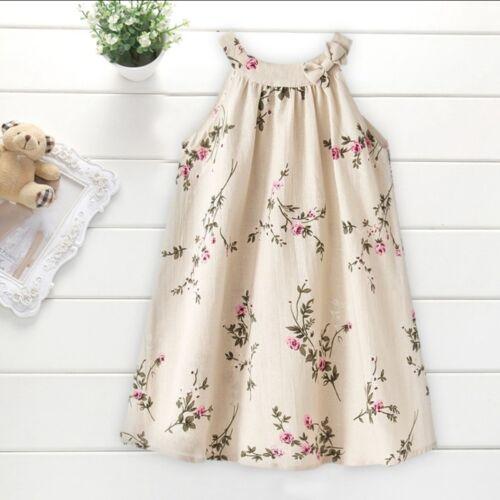 USA Fashion Princess Girls Dress Flower Baby Party Gown Formal Dresses Khaki