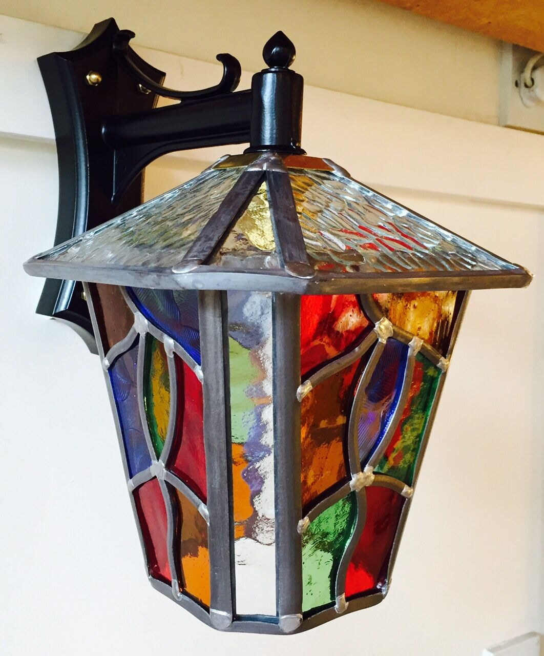 Glass Vs Leaded Stained Glass : Leaded outdoor lantern stained glass multi coloured