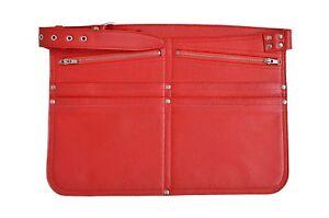 CASH BAG RED REAL LEATHER MONEY HOLSTER MARKET TRADER SHOULDER STRAP TRAVEL