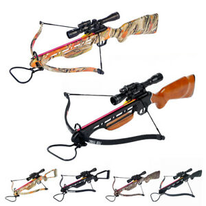 150-lb-Black-Wood-Camo-Hunting-Crossbow-Bow-4x20-Scope-7-Arrows-180-80-50