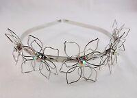 Flower Headband Thin Metallic Metal Aurora Borealis Crystal Center 18+ Years
