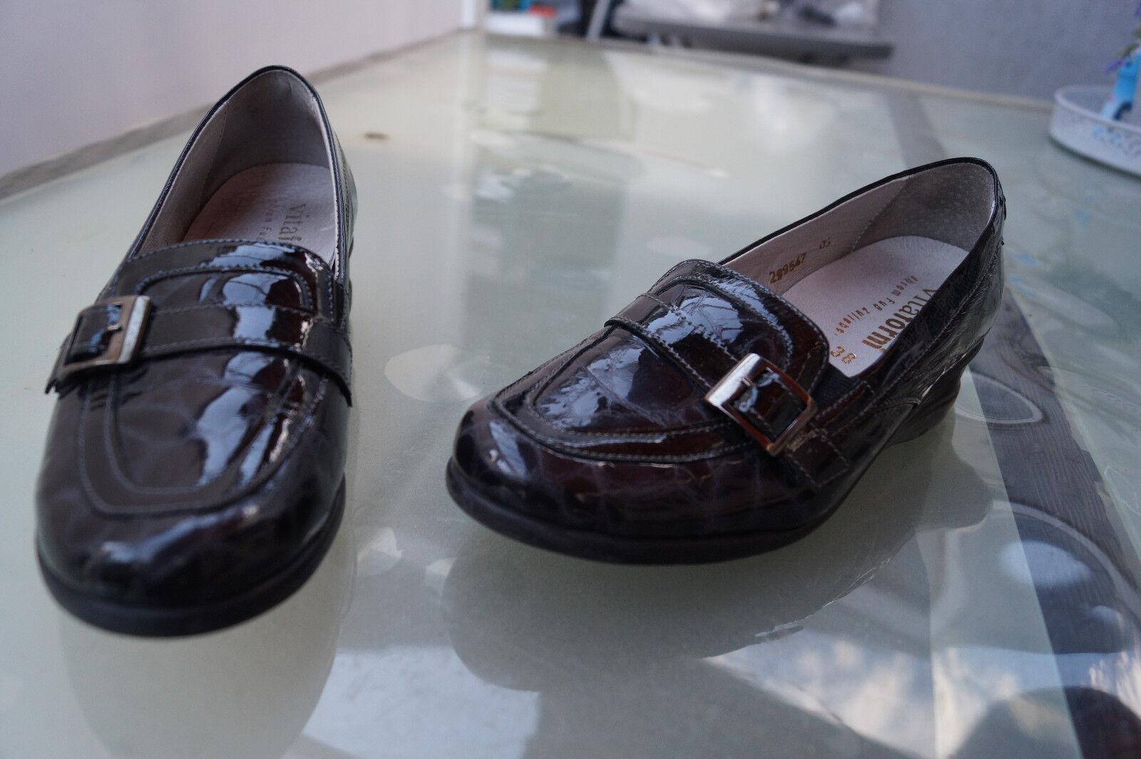 VITAFORM Damen Comfort Schuhe Mokassins Slipper Gr.38 Leder H schwarz grau Lack Leder Gr.38 dfedf7