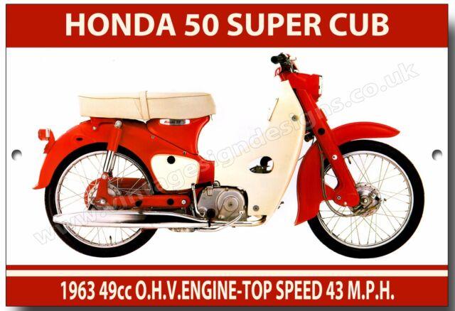Honda 50 Super Cub Metal Signvintage Japanese Motorcycles Mopedssixties