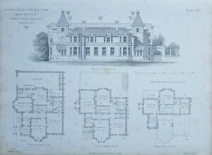 1868-Architektonisch-Aufdruck-Doppel-Villa-Victoria-Park-Edward-Walters-Plan