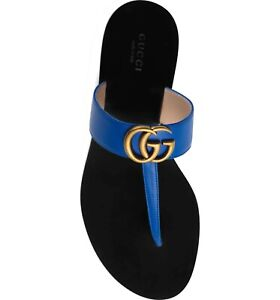 8820d94bb Gucci Marmont Electric Blue GG Logo Black Mule Thong Flat Flip Flop ...