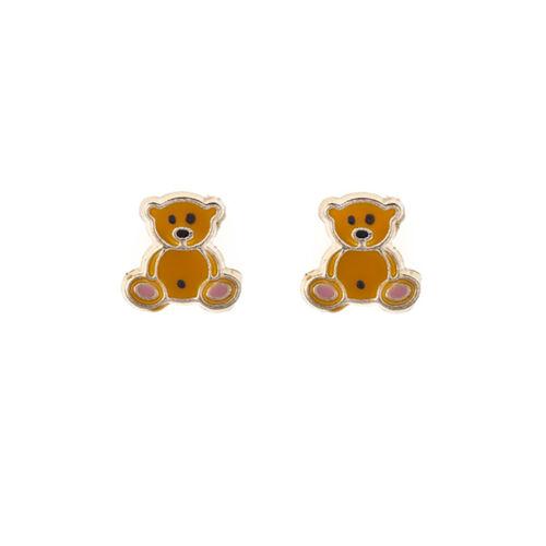 9ct gelbgold gelb emaille teddy bär ohrstecker Geschenkkarton