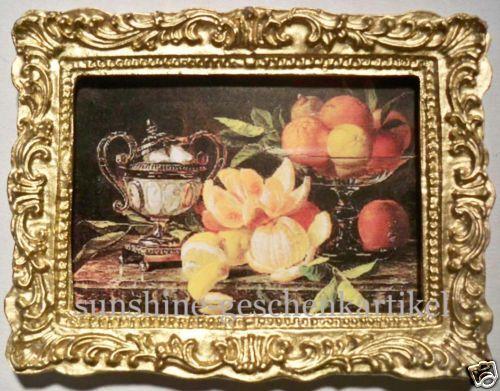 miniatura-estilo vida-imagen en oro puro marco-casa de muñecas 1:12
