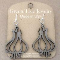 Garlic Clove Green Tree Jewelry Gray Laser-cut Wood Earrings Usa 1259 Bulb