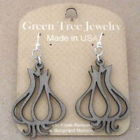 Garlic Clove Green Tree Jewelry Gray Laser-cut Wood Earrings Usa 1259 Bulb