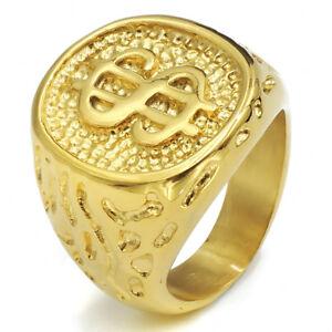 Mens Boys Gold Money Cash Sign Stainless Steel Ring Hip