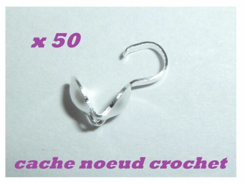 50 cache noeud crochet embout argenté création bijou collier bracelet 9 x 3 mm