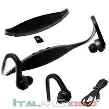 Lettore MP3 Cuffie Sport Micro SD Fitness Corsa Auricolari Jogging Radio Nero