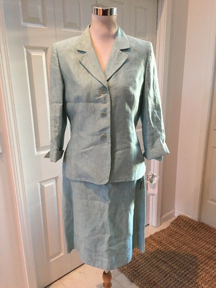 Neuf avec étiquettes le Suit petite Blau 100% lin Taill 10P RSME  200