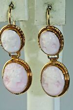VINTAGE ANTIQUE 18K GOLD PINK SHELL CAMEO DANGLING EARRINGS