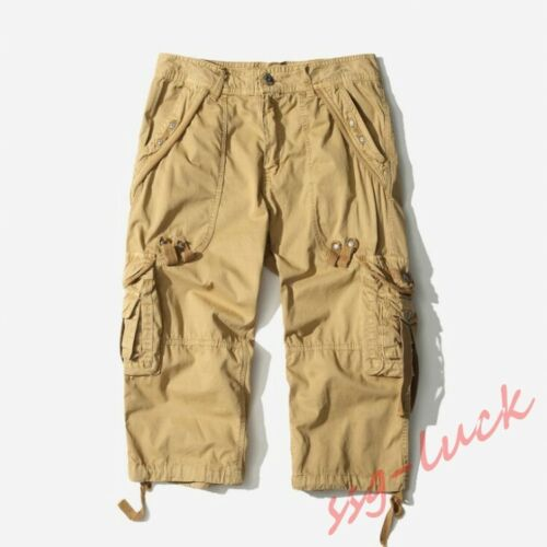 Mens Summer Casual Short Loose Fit Baggy Shorts Overalls Work Short Pants Cotton