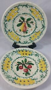 Pair-Of-Vintage-Majolica-Lattice-Cut-Fruit-Plate-Hand-Painted-in-Italy-By-W-C-G