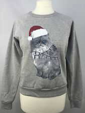 TOPSHOP CHRISTMAS CAT SWEATER JUMPER SWEATSHIRT SIZE UK8/EUR36/US4