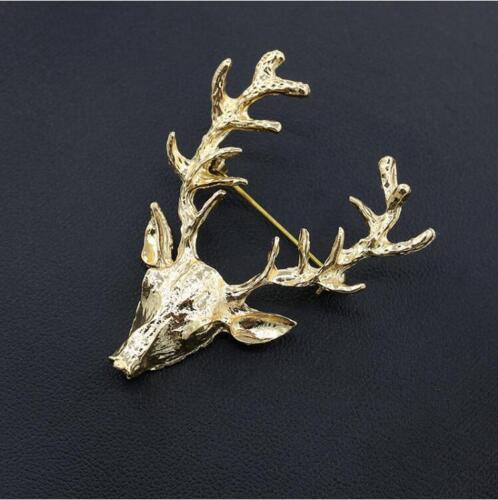 Hombre Vintage Reno Ciervo Ciervo de Oro Lindo Broche Pin Navidad Boda Fiesta