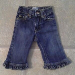 Children-039-s-Place-Girl-039-s-Size-6-9-Months-Darling-Denim-Jeans-With-Ruffled-Hem