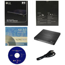 LG 6X External Slim Blu-ray CD DVD  Drive Burner+3pk Mdisc BD+Software+USB Cable