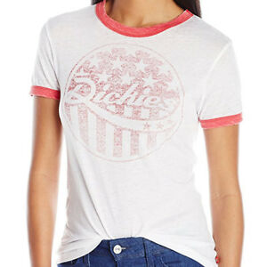 DICKIES-Girl-Vintage-Burnout-Junior-039-s-Ringer-Tee-White-with-Red-S-M-L-XL