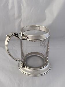LARGE-Victorian-Silver-amp-Glass-PINT-TANKARD-1855-London-JOHN-FIGG-Sterling