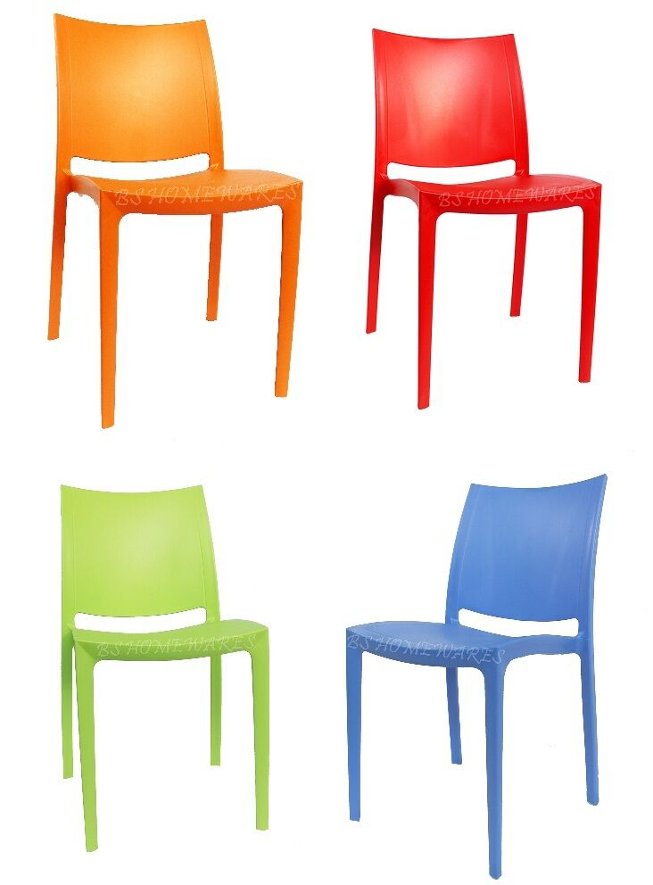 Plastic Stacking Chairs Patio Garden Outdoor Home Picnic