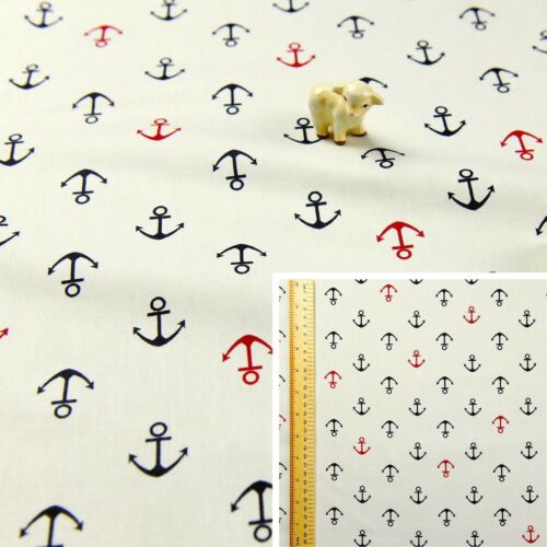 Blanco//Metro//FQmaterial de algodón playa náutica Tela Cuarto gordo Extra Ancho