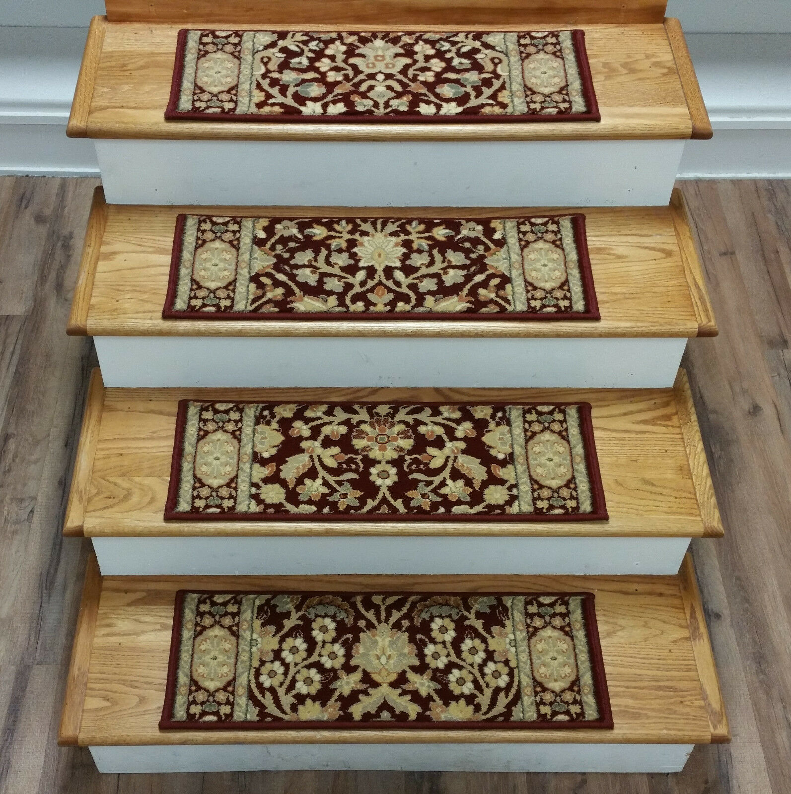 Rug Depot Set of 15 Traditional Non Slip Carpet Stair Treads 26  x 9  rosso